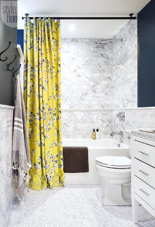 White And Blue Bathroom With Yellow Shower Curtain