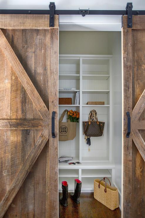Mudroom With Barn Wood Sliding Door Cottage Laundry Room