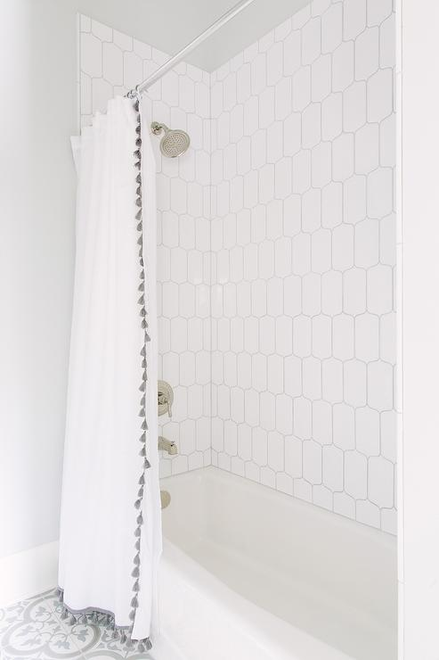 White Shower Curtain With Serena And Lily French Tassel