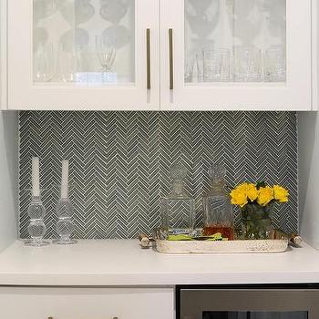 Limed Oak Cabinets With Marble Backsplash Shelf