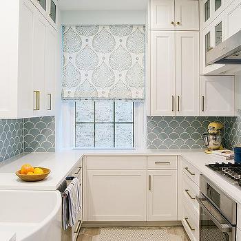 Blue Kitchen Backsplash Tiles With White Cabinets Contemporary Kitchen