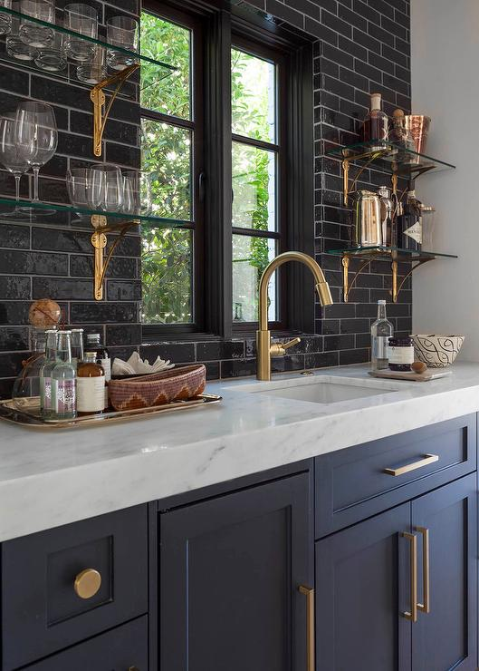 glossy black backsplash tiles