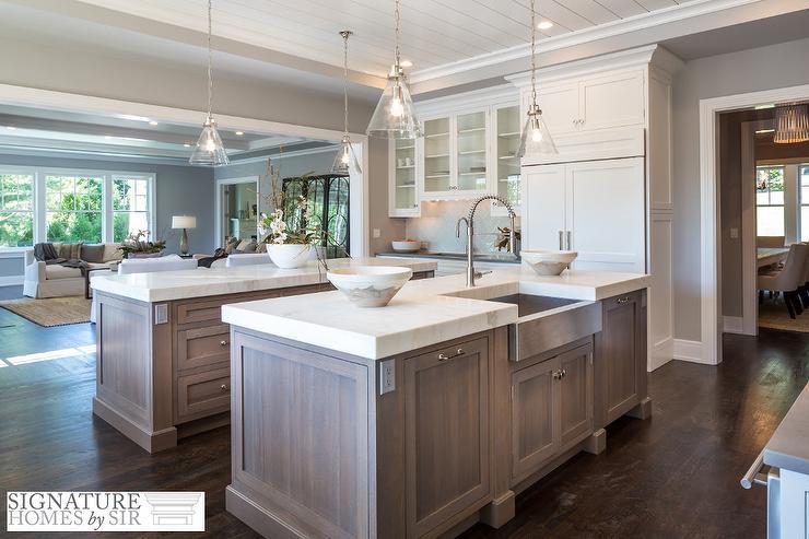 Rift Sewn Kitchen Island With Calcatta White Marble