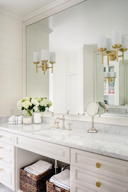 White Bathroom Vanity With Gold Hexagon Knobs