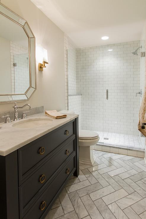 Dark Gray Bathroom Vanity Cabinets With Antique Brass