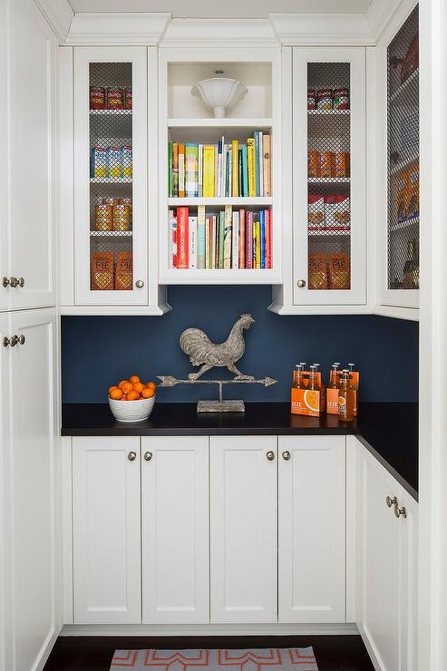 Country Style Pantry With Soapstone Countertops And Chicken Wire Cabinets Country Kitchen