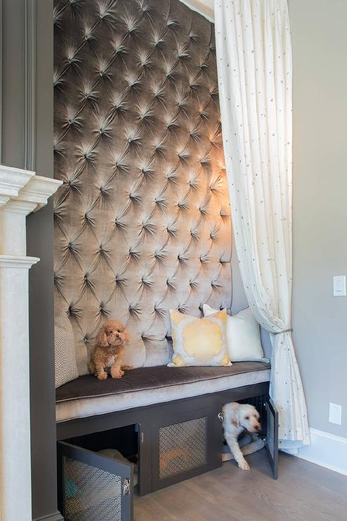 Gray Velvet Tufted Bench With Built In Dog Bed