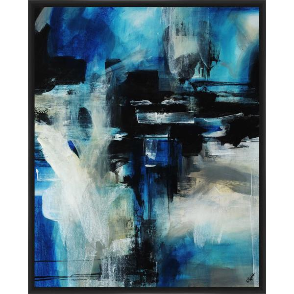Blue And White Abstract Framed Art