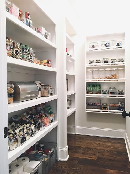 U Shaped Kitchen Pantry With Modular Shelves Transitional Kitchen