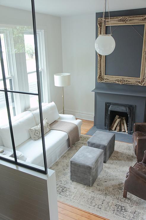 White Slipcovered Roll Arm Sofa With Gray Velvet Cube