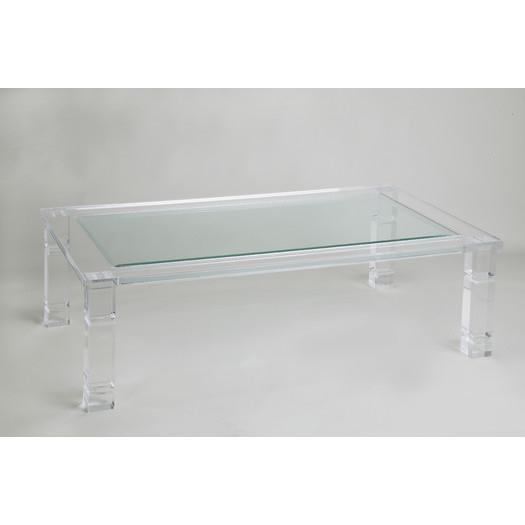 ghost acrylic base glass coffee table