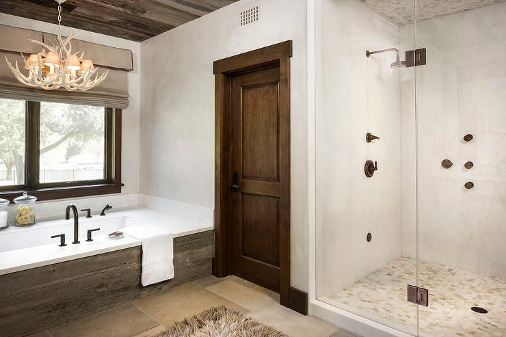 Country Style Bathroom with Antler Chandelier