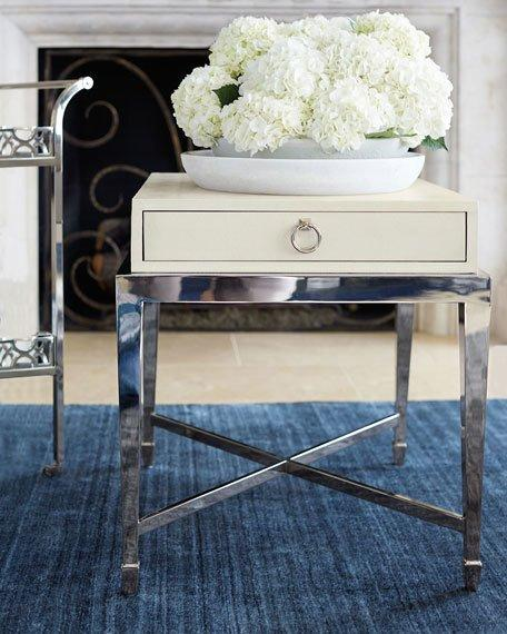 ivory leather end table