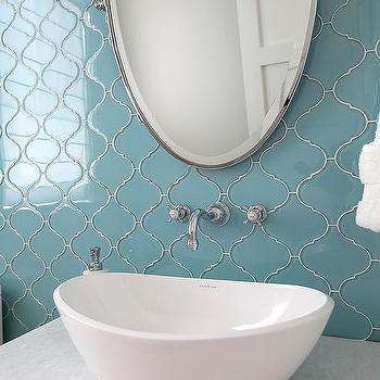 blue glass arabesque powder room tiles