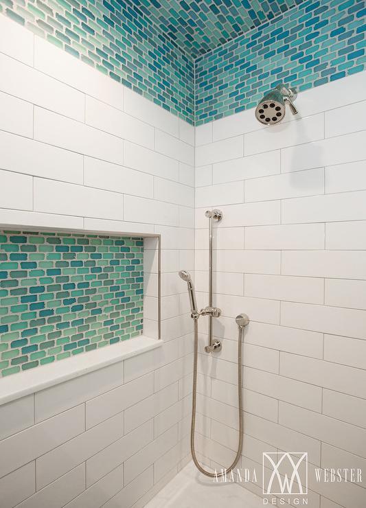 aqua blue glass shower tiles