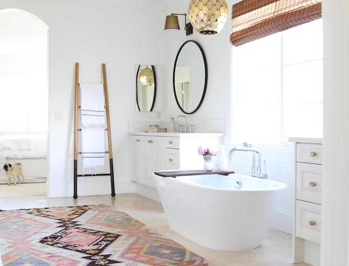 arteriors osgood pendant over bathtub - transitional - bathroom