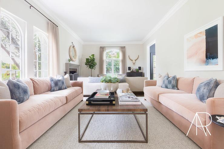 Dark Gray Sofa With Pink And Gray Pillows Transitional