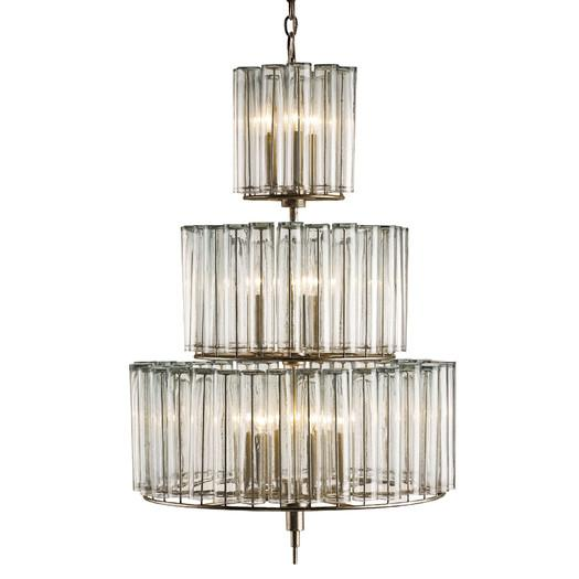 Three Tier Glass Drum Chandelier