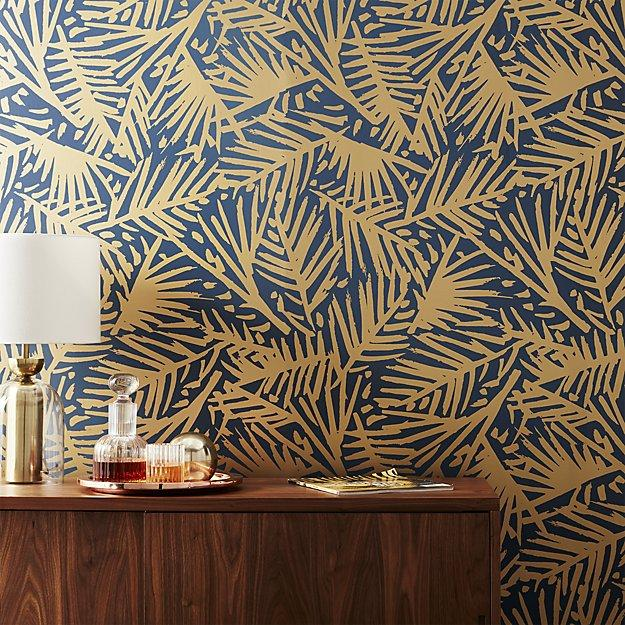 Navy And Gold Palm Wallpaper