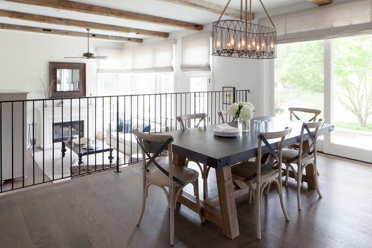 Zinc Top Dining Table With Leather X Back French Dining