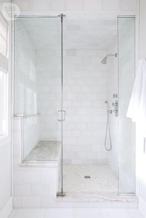cream mosaic shower floor tiles