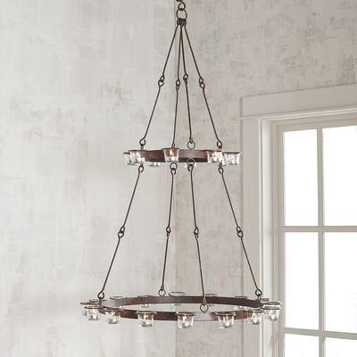 Two Tier Wrought Iron Tealight Candle Holder Chandelier