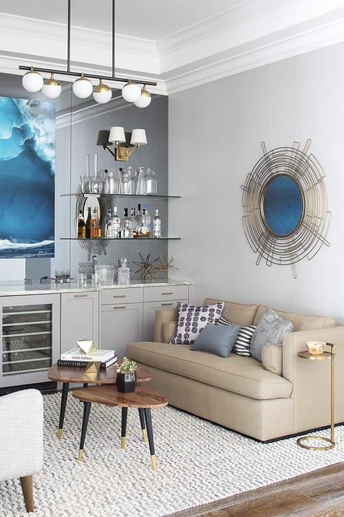 Delightful Living Room With Gray Built In Bar And Mirrored Wall Part 28