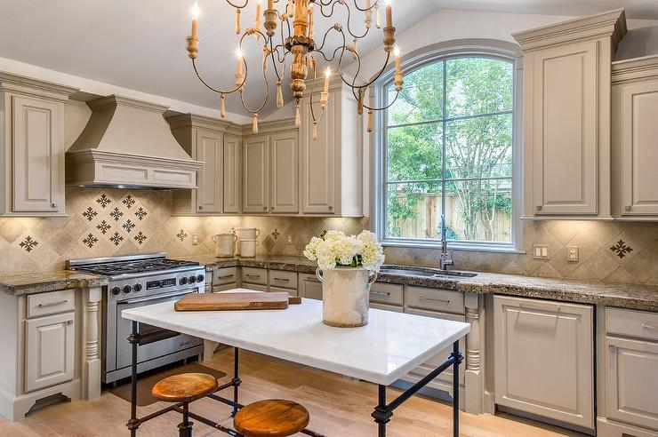 Light Gray French Kitchen With Marble French Island French Kitchen