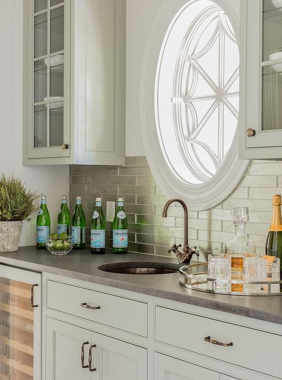 Light Gray Wet Bar Cabinets With Stainless Steel Backsplash Tiles Transitional Kitchen