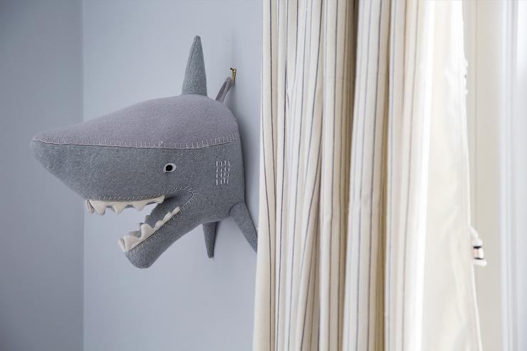 Gray Boy Room With Felt Shark Head On Wall Transitional Boys Room
