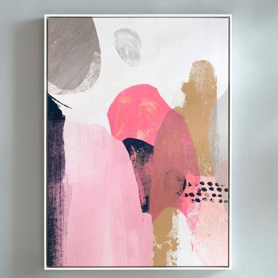 Pink And Navy Organic Shapes Abstract Art