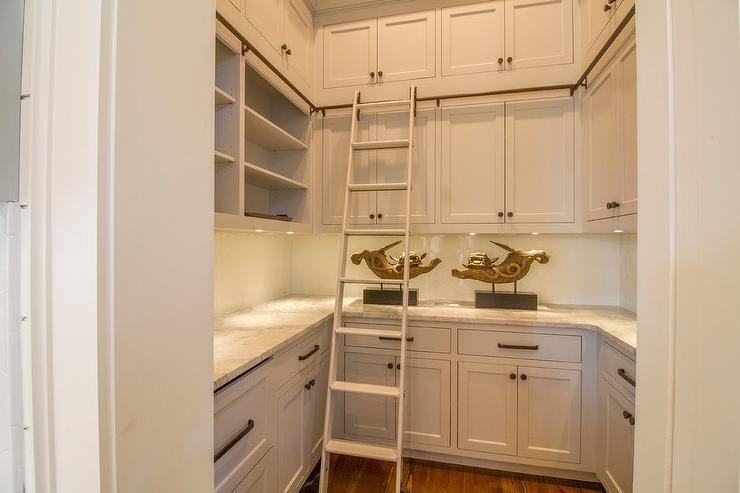 Beach Style Kitchen Pantry With Ladder On Rails Cottage
