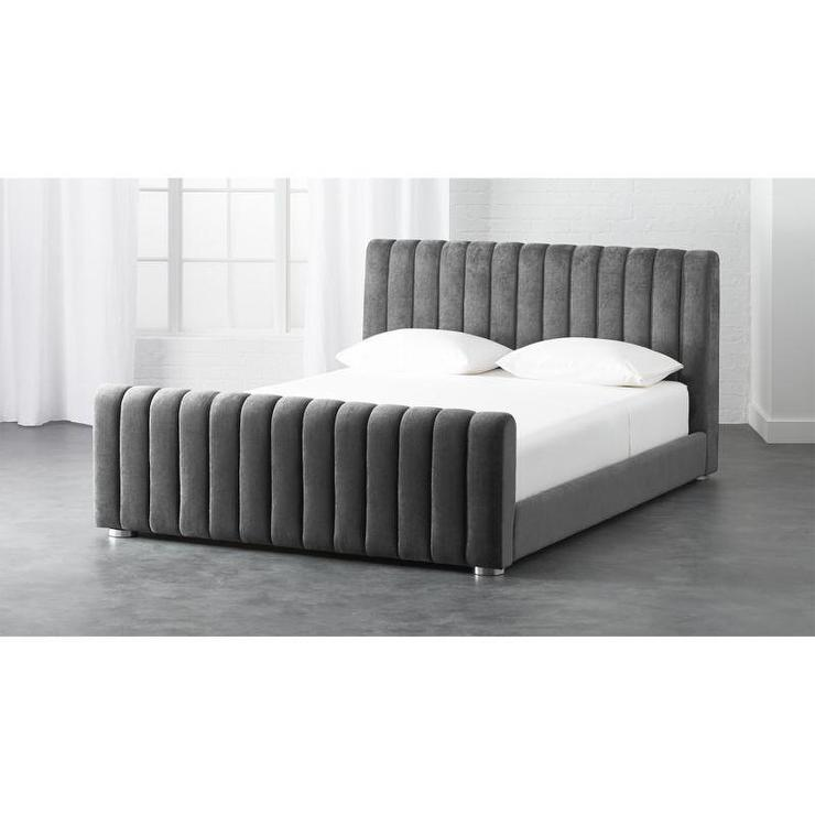 Gray And Brown Channel Tufted Hair Hide Bed