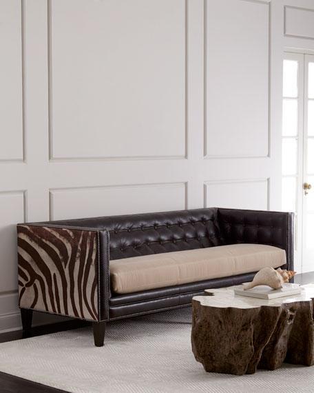 Light Blue Tufted Sofa