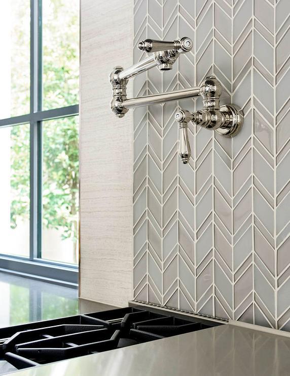 gray and blue glass chevron tiles