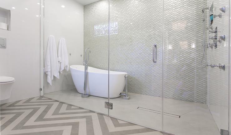 Niches Over Tub Contemporary Bathroom