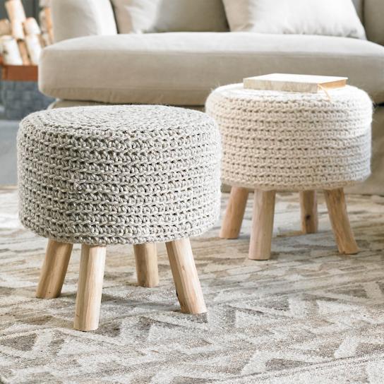 neutral knit round nordic ottoman
