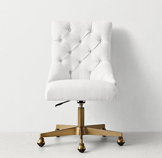 White Button Tufted Adjustable Antiqued Brass Caster Desk Chair