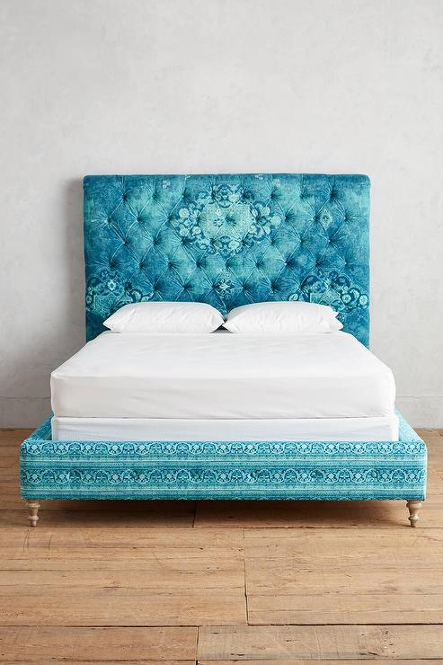 Teal Antique Print Roll Back Tufted Bed