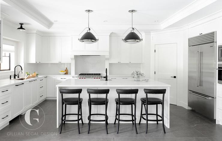 White And Black Kitchen With Corner Pantry Transitional