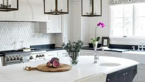 Black Oval Kitchen Island With Honed White Marble