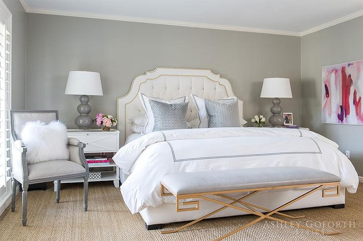 Dove Gray Velvet Tufted Bed With White And Gold Hotel