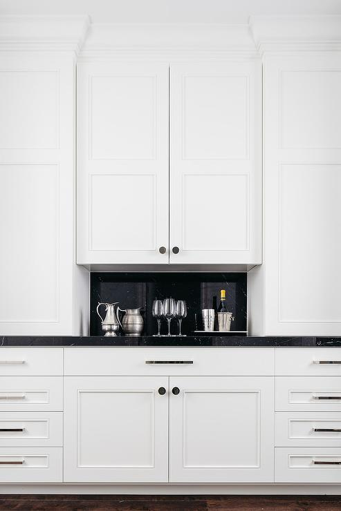 White Butler Pantry With Black Marble Countertop Transitional Kitchen