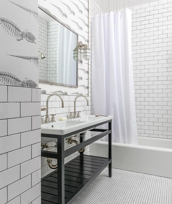 Black And White Bathroom Floor Tiles Design Ideas
