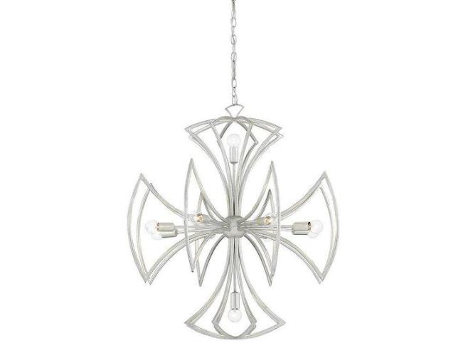 Malta Contemporary Silver Cross Chandelier