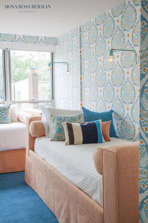 Blue And Peach Girls Bedroom Design Contemporary Girl S Room