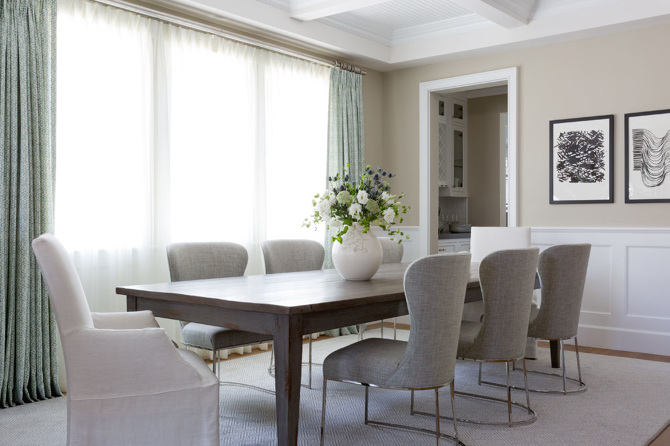 Walnut Stained Dining Table With Gray Linen Dining Chairs