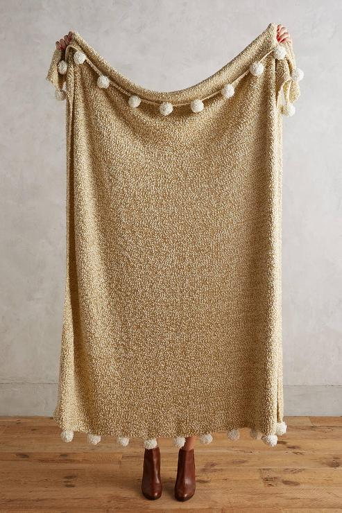 Nate Berkus Woven Knit Gold Throw At