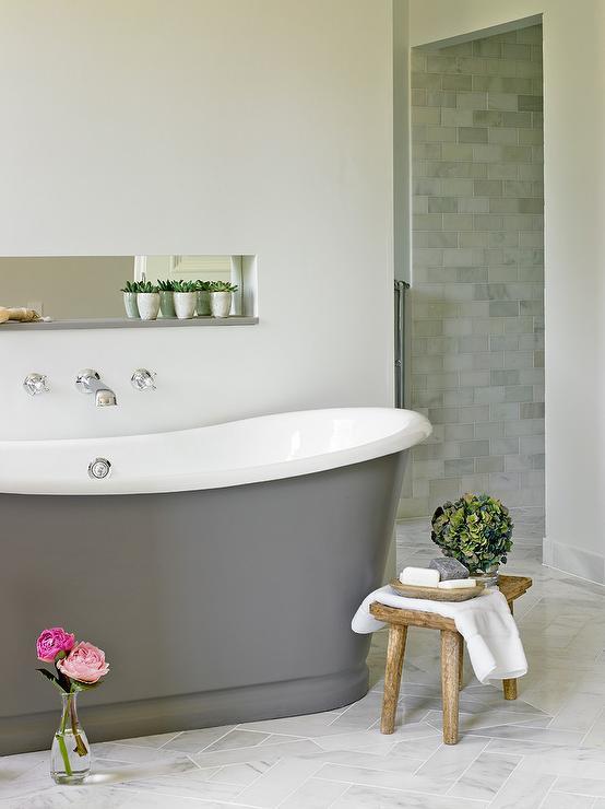 Freestanding Gray Cast Iron Bathtub Transitional Bathroom