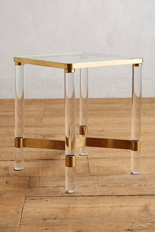 Brass Oscarine Lucite End Table